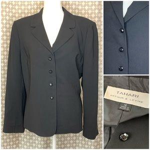 TAHARI 4 Button Blazer Jacket Black Plus Size 18